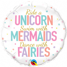 "Unicorn Mermaids Fairies Foil Balloon (18"") 1pc"